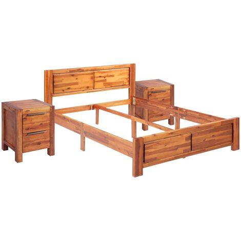 Cadre de Lit et 2 Tables de Chevet Bois d'Acacia 140x200 cm
