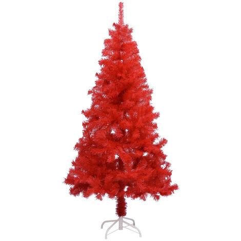Sapin de Noël artificiel avec support Rouge 150 cm PVC