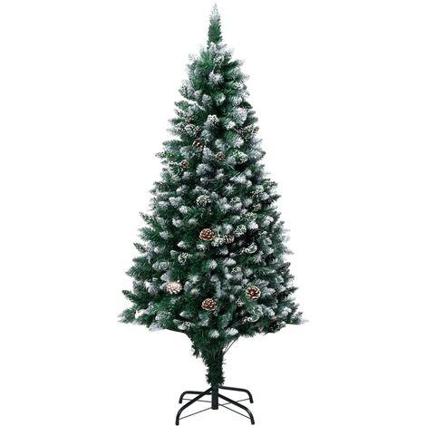 Sapin de Noël avec pommes de pin et neige blanche 180 cm