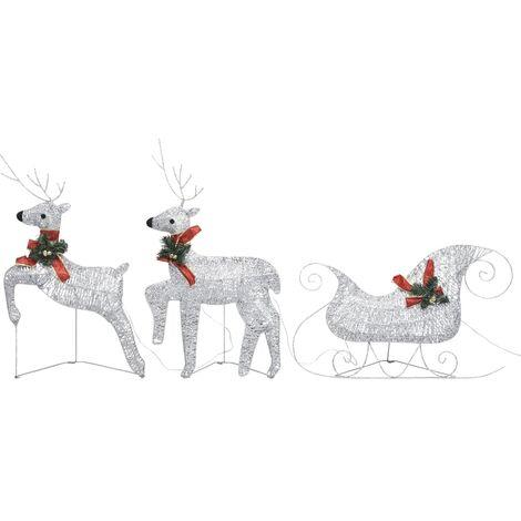 Renne et traîneau de décoration de Noël 60LED Extérieur Argenté