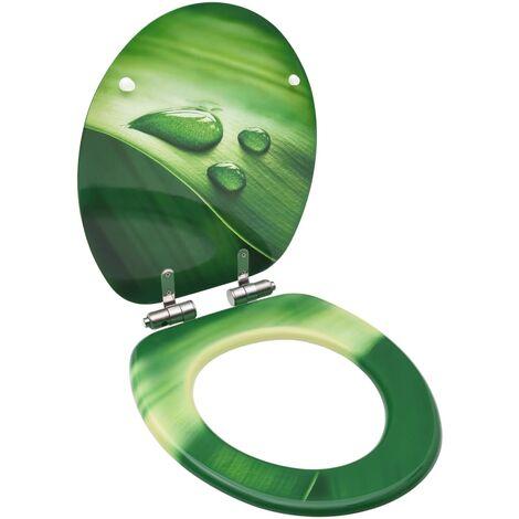 Siège WC Couvercle fermeture en douceur MDF Vert Gouttes d'eau