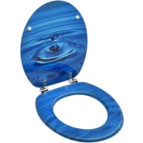 Siège de toilette avec couvercle MDF Bleu Gouttes d'eau
