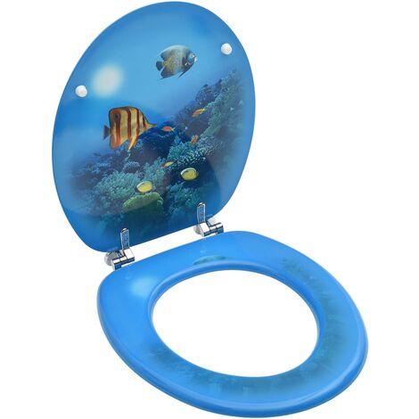 Siège de toilette avec couvercle MDF Design de fond marin