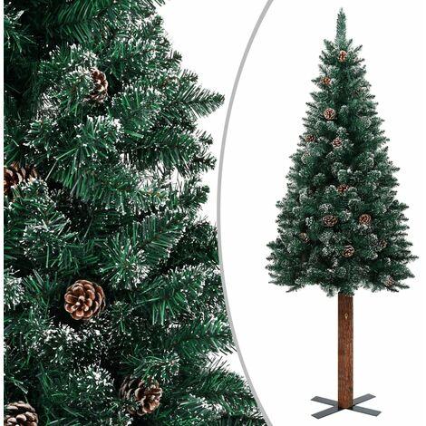 Sapin de Noël mince bois véritable et neige blanche Vert 150cm