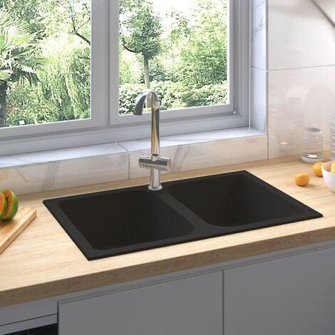 pedkit /Évier de Cuisine Granit avec Haute Qualit/é Gris avec Trou de Trop-Plein