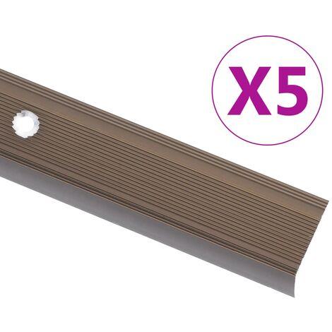 Nez de marche Forme en L 5 pcs Aluminium 100 cm Marron