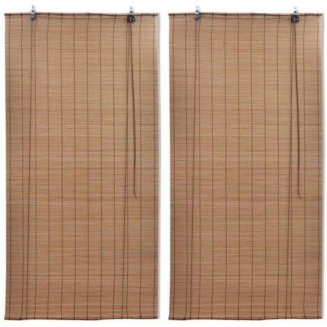 Stores roulants en bambou 2 pcs 100x160 cm Marron