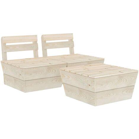 Salon de jardin palette 3 pcs Bois d'épicéa imprégné