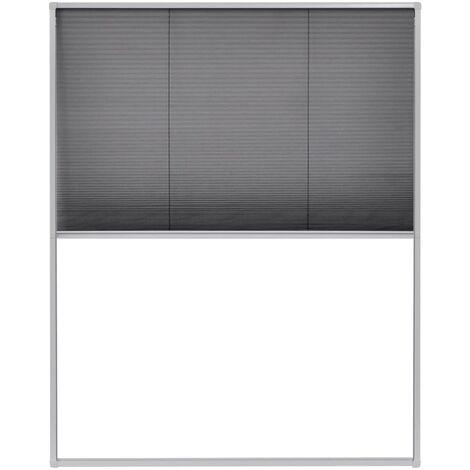 Moustiquaire plissée pour fenêtre Aluminium 120x160 cm