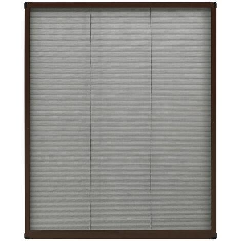 Moustiquaire plissée pour fenêtre Aluminium Marron 60x80 cm