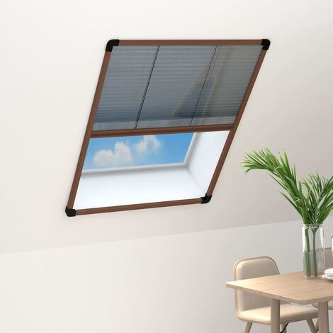 Moustiquaire plissée pour fenêtre Aluminium Marron 80x100 cm