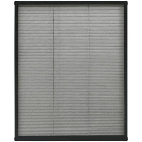 Moustiquaire plissée pour fenêtre Aluminium Anthracite 80x100cm