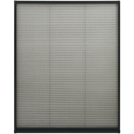 Moustiquaire plissée à fenêtre Aluminium Anthracite 100x160 cm