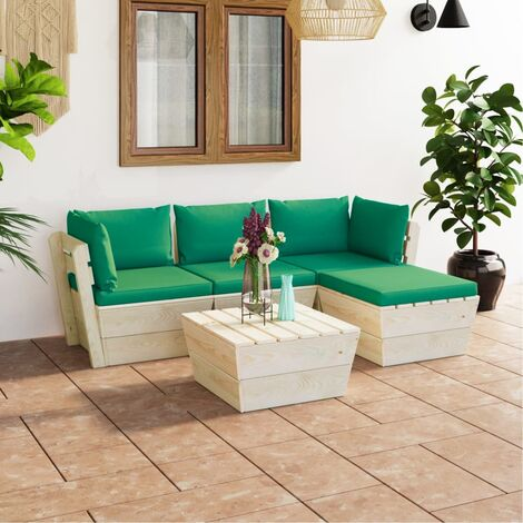 Salon de jardin palette 5 pcs avec coussins Épicéa imprégné