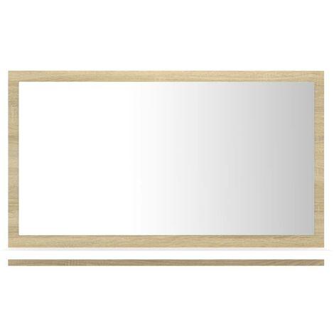 Miroir de bain Blanc et chêne sonoma 60x10,5x37 cm Aggloméré