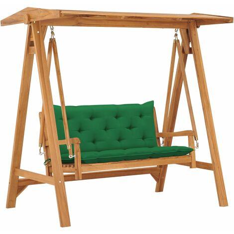 Balancelle avec coussin vert 170 cm Bois de teck solide