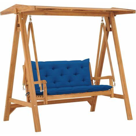 Balancelle avec coussin bleu 170 cm Bois de teck solide