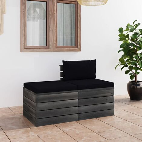Salon palette de jardin 2 pcs avec coussins Bois de pin massif
