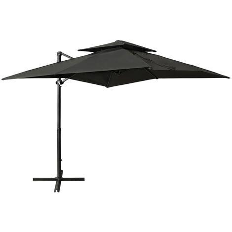 Parasol déporté à double toit 250x250 cm Anthracite