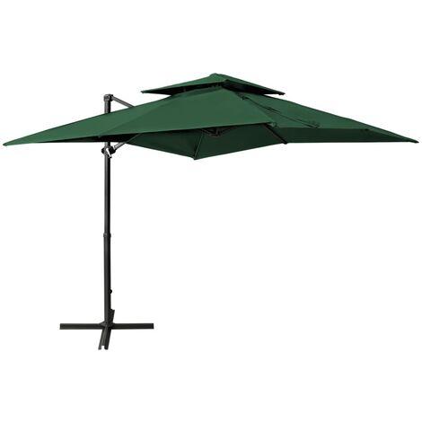 Parasol déporté à double toit 250x250 cm Vert