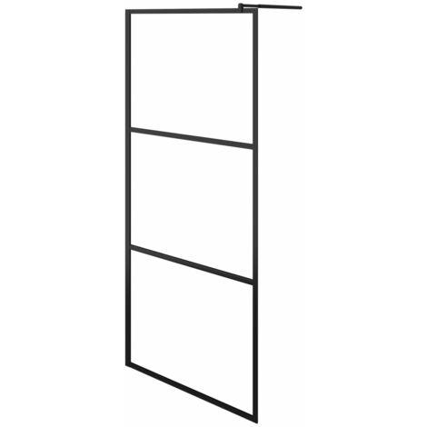 Paroi de douche à l'italienne à verre ESG Noir 80x195 cm