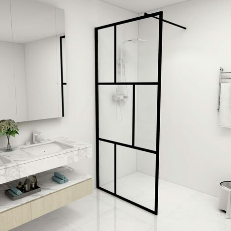 Paroi de douche à l'italienne avec verre trempé Noir 90x195 cm