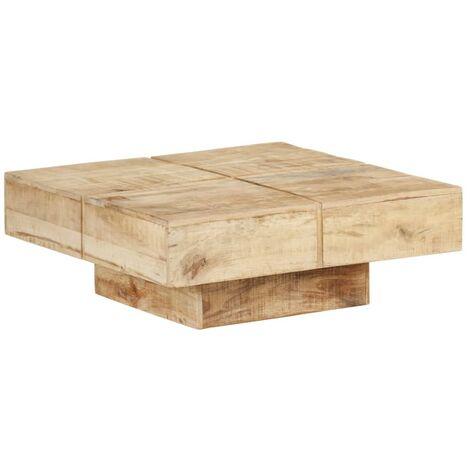 Table basse 80x80x28 cm Bois de manguier massif