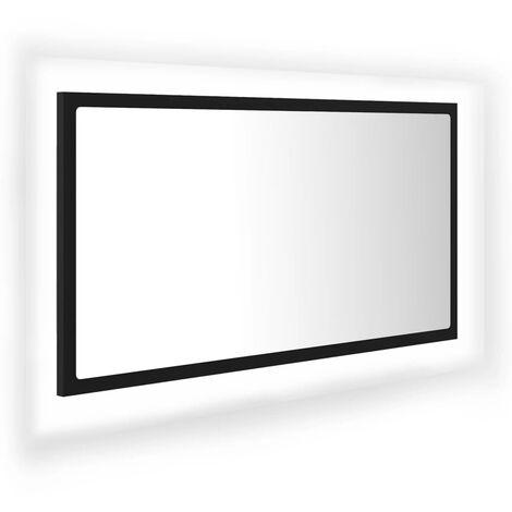Miroir LED de salle de bain Noir 80x8,5x37 cm Aggloméré