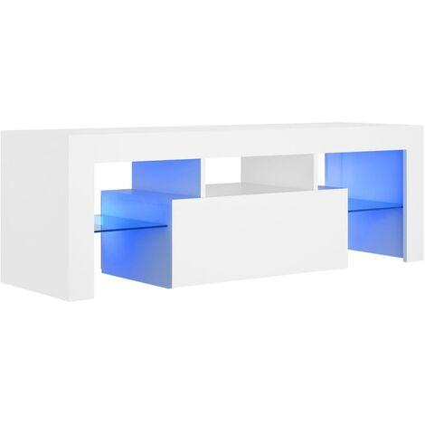 Meuble TV avec lumières LED Blanc 120x35x40 cm