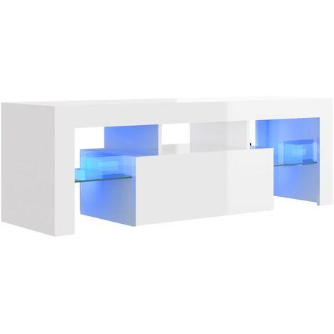 Meuble TV avec lumières LED Blanc brillant 120x35x40 cm