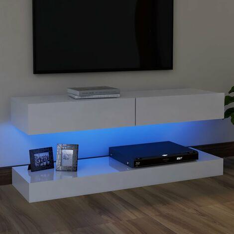 Meuble TV avec lumières LED Blanc brillant 120x35 cm