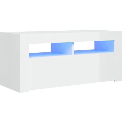 Meuble TV avec lumières LED Blanc brillant 90x35x40 cm