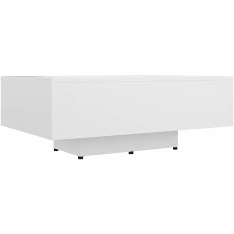 Table basse Blanc 85x55x31 cm Aggloméré