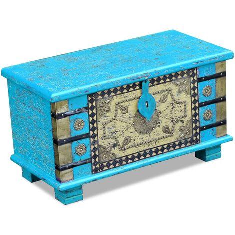 Coffre de Rangement Bois de Manguier 80x40x45 cm Bleu