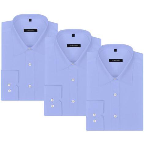 Chemises de Travail pour Homme 3 pcs Bleu Clair Taille S