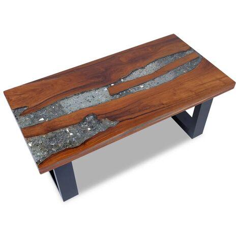 Table Basse Teck Résine 100x50x40 cm Marron et Bleu