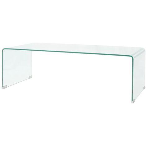 Table basse 100 x 48 x 33 cm Verre trempé Transparent