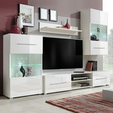 Meuble TV Mural avec Eclairage LED 5 pcs Blanc