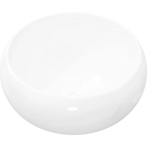 Lavabo Ronde Céramique Lave-Mains Vasque Evier pour Salle de Bain