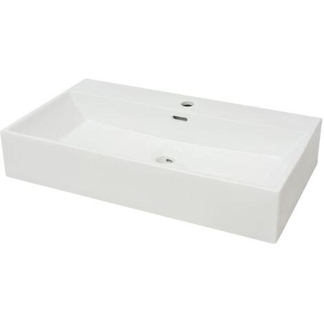 Vasque avec trou de robinet en céramique Blanc 76x42,5x14,5 cm