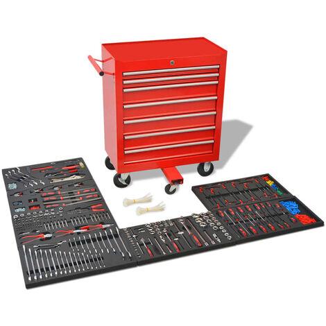 Chariot à outils pour atelier avec 1 125 outils Acier Rouge