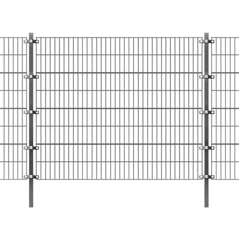 Clôture et poteaux Fer enduit de poudre 6x1,6 m Anthracite