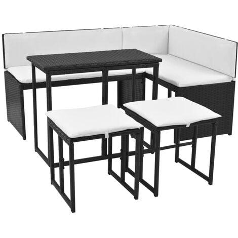 vidaXL Salon de Jardin 5 pcs avec Coussins Mobilier de Jardin Meubles dExt/érieur Mobilier de Patio Mobilier de Terrasse R/ésine Tress/ée Gris