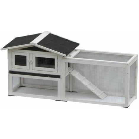 @Pet Clapier pour lapins Manou Blanc et noir 155 x 53 x 70 cm