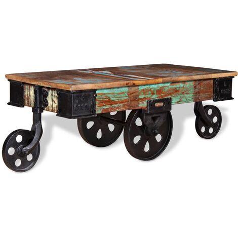 Table Basse avec Roues Bois de Récupération