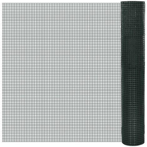 Grillage Acier galvanisé et revêtement en PVC 25 x 1 m Vert