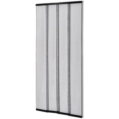 Moustiquaire rideau à 4 bandes 220 x 100 cm Noir polyester