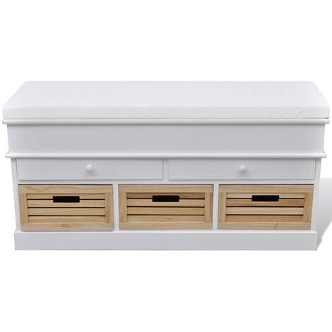 Banc d'entrée et de rangement avec coussin 2 tiroirs Blanc
