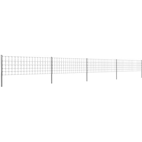 Clôture avec Poteaux Fer Enduit de Zinc 50 m 80/6/15
