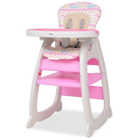 Chaise Haute Convertible 3-en-1 avec Table Rose